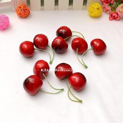 小花精品店-仿真假水果櫻桃模型車厘子餐廳攝影擺件拍攝道具櫥柜裝飾品