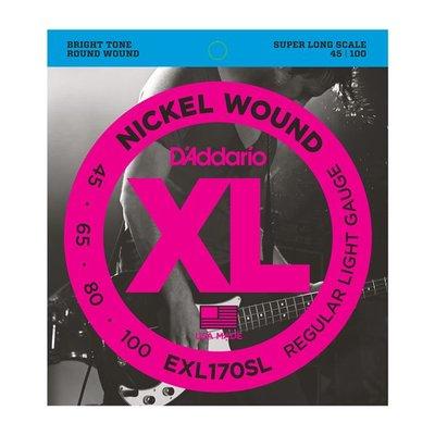 ☆唐尼樂器︵☆全館免運 D'Addario EXL170SL (45-100) 加長 貝斯 Bass 4弦鎳弦套弦