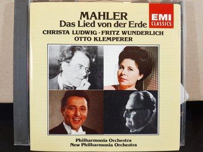 Klemperer,Ludwig,Wunderlich,Mahler-Das Lied Von der Erde克倫培勒,露德維格/溫德利希演唱,馬勒-大地之歌