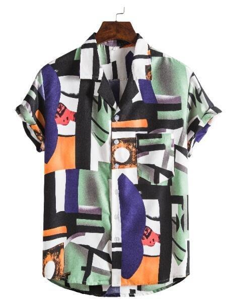 FINDSENSE X 男士 薄款 棉麻 西裝領 短袖 上衣 花圖案襯衣 休閒 襯衫防曬上衣
