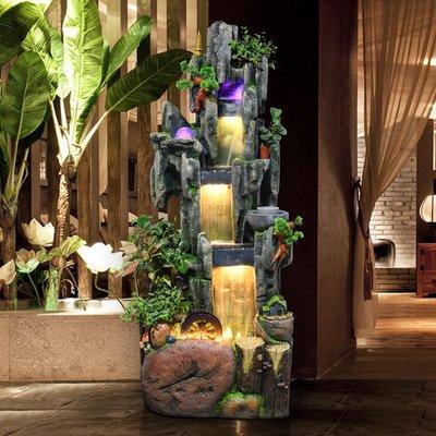 假山流水噴泉擺件客廳室內招財風水輪陽臺辦公室魚缸落地裝飾造景小豬佩奇