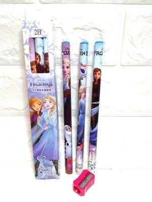 迪士尼 冰雪奇緣2 學齡前大三角鉛筆3入附削筆器 2B