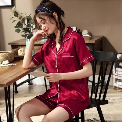 仿真絲綢開衫睡衣女夏薄款性感可愛韓版公主風學生冰絲家居服套裝睡衣 睡袍 睡裙
