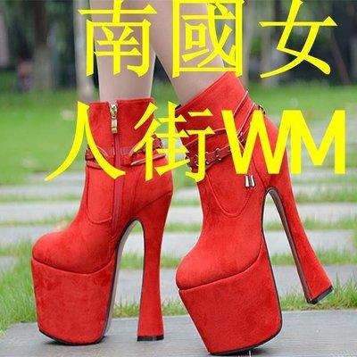南國女人街WM2019秋冬新款19公分20cm紅色短靴及踝靴機車靴婚鞋模特車展走秀鞋