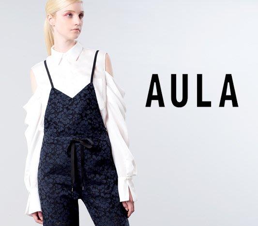 SHINY SPO 獨家代理日本品牌AULA時尚設計款日本製高級雪紡挖肩簍空造型不規則下擺長版襯衫