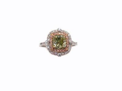 自然本色 GIA彩鑽 青檸凍飲綠鑽 BGY 1.51克拉 18K金鑽戒 天然鑽石 閃亮珠寶