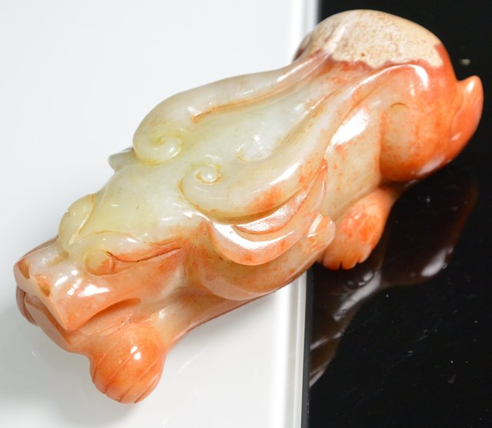 [天地居] 漢 帶沁和闐白玉獸 祥瑞 局部鈣化質變 0623