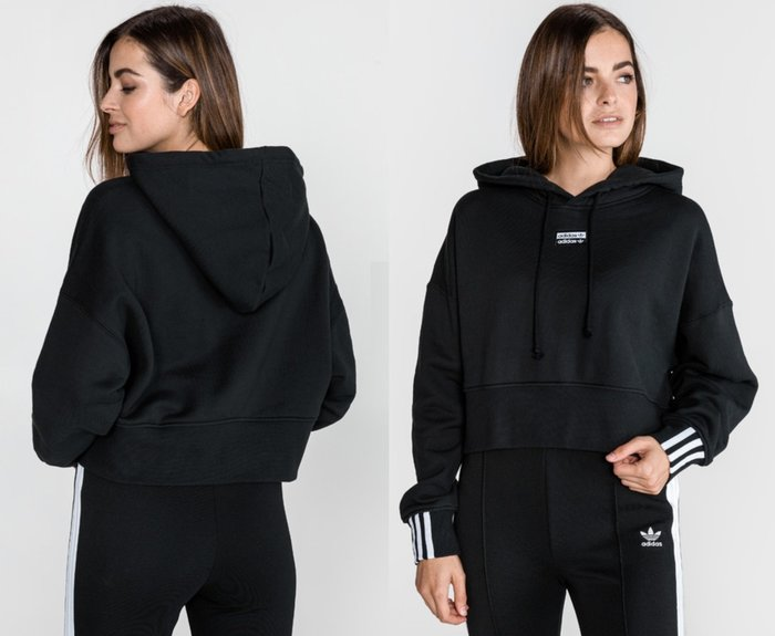AsukA的衣物間~愛迪達adidas R.Y.V.秋冬寬鬆飛鼠袖短版連帽長袖T黑色上衣EJ8537