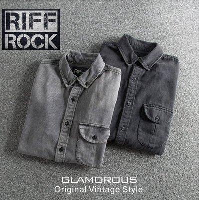 2018  英式搖滾品牌RIFFROCK MENS型男重工水洗修身牛仔襯衫~2色A  F.SUPERDRY