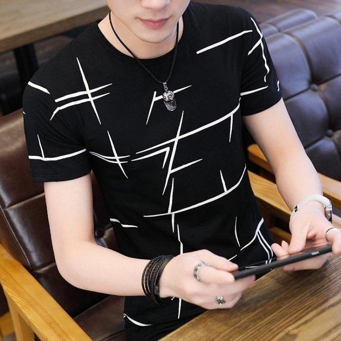現貨男短袖夏季新款男士短袖T恤潮流韓版圓領帥氣衣服學生薄款半袖上衣男裝9-12
