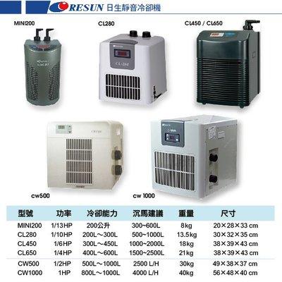 魚樂世界水族專賣店# 日生 RESUN CW1000 1HP 冷卻機 適合水量4000L以下 原廠一年保固
