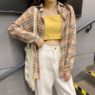 Fabgirls女裝早春疊穿格子襯衫女復古香港新款2021年寬松百搭薄款防曬襯衣外套