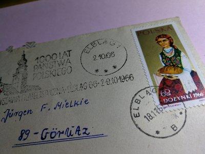 銘馨易拍重生網 PP908 早期 1966年 少見 波蘭Elbla 實寄戳封 1張ㄧ標 含1郵票 保存如圖(珍藏回憶)