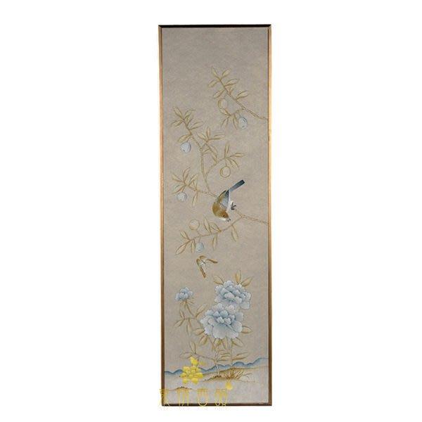 【芮洛蔓 La Romance】東情西韻系列銀色無紡絲手繪花鳥畫飾 無紡花鳥 CHY-044