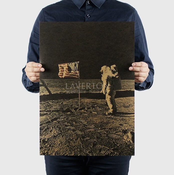 【貼貼屋】阿波羅登入月球A款B款 太空人 復古海報 懷舊復古 牛皮紙海報 電影海報 355