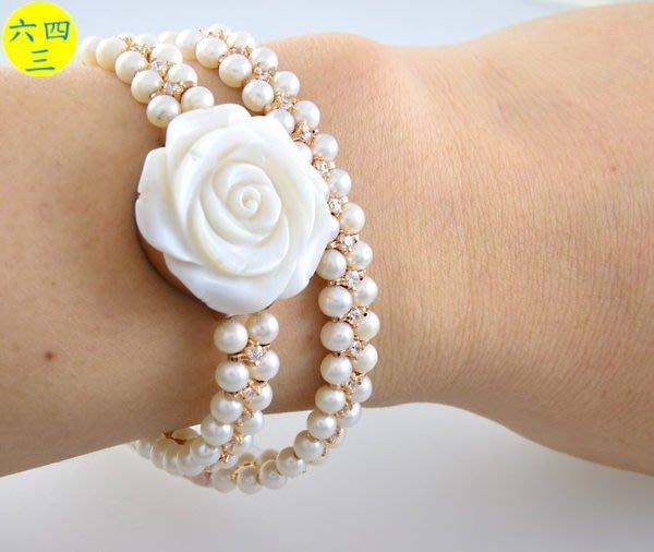(六四三精品)范侖鐡諾(真品)天然珍珠母貝手工雕刻山茶花.雙繞天然珍珠鑽錶.玫瑰金色!