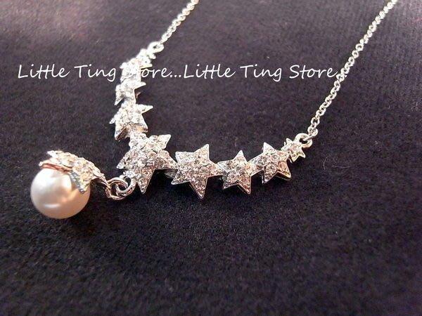 Little Ting Store埃及豔后款V型排鑽星星水鑽垂吊星珍珠墜飾短項鍊串鏈珠鎖骨頸鍊