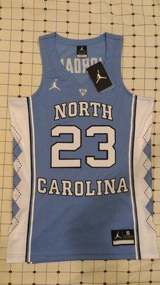Brand Jordan Michael Jordan #23 Authentic Jersey 北卡藍 球員版 雙層電繡 S號 約Adidas青年版L號 YL