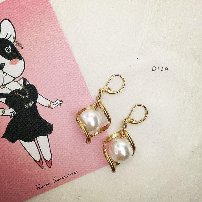 Ferron Accessories 琺隆  D124   雪球珍珠耳環   訂製  復古 歐美 黃銅