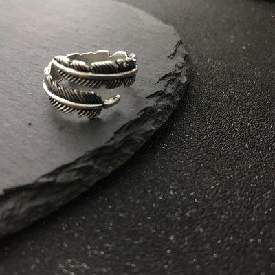 ZIHOPE 戒指 首飾 對戒 指環 尾戒復古做舊泰銀羽毛戒指指環男女ZI812