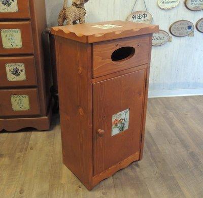 鄉村風內崁磁磚原木面紙盒垃圾桶收納櫃 多功能電話櫃 面紙收納 垃圾收納 電話桌櫃 內崁磁磚 美觀又實用
