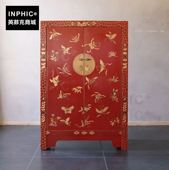 INPHIC-裝飾櫃鞋櫃玄關蝴蝶儲物櫃多功能中式實木大容量-紅色標準款兩層隔板_SSJ3
