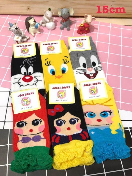 【傳說企業社】韓國直送童襪兒童襪子15公分 超人蝙蝠俠超級瑪莉蜘蛛人熊貓無臉男麵包超人傻大猫兔寶寶崔弟美人魚白雪公主愛紗