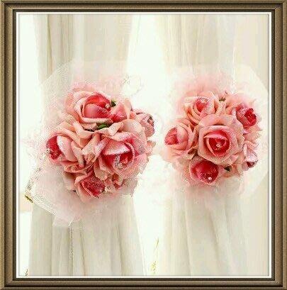 粉紅玫瑰精品屋~粉色玫瑰蕾絲絹花流蘇窗簾帶~
