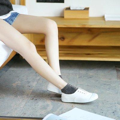 5雙入夏季銀絲襪子女珠光銀葱運動短襪淺口襪亮絲低腰隱形船襪☆百變花 yang☆