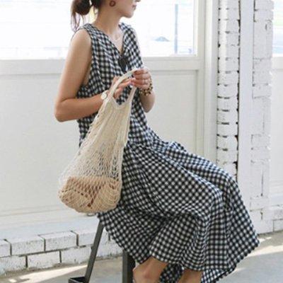 無袖洋裝連身裙格紋 清新女孩黑白格棉麻洋裝 艾爾莎【TAK6491】