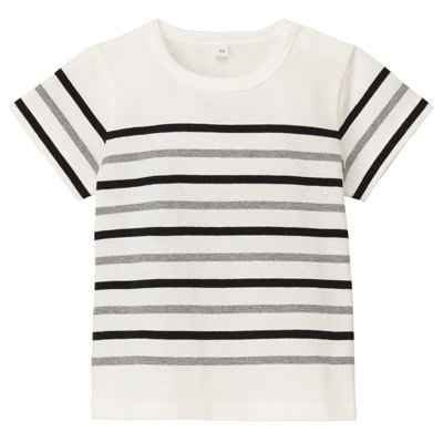 朵拉媽咪 最後一件 80CM【全新 無印良品】童裝 MUJI 有機棉寬紋 短袖T恤 條紋 男童 女童