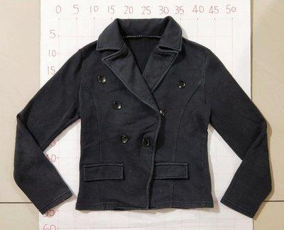 二手衣 混線騎士風外套 翻領外套 休閒 毛呢外套黑色皮衣 歐美時尚夾克外套 黑色 小香風 騎士外套 軍裝風格 西裝外套