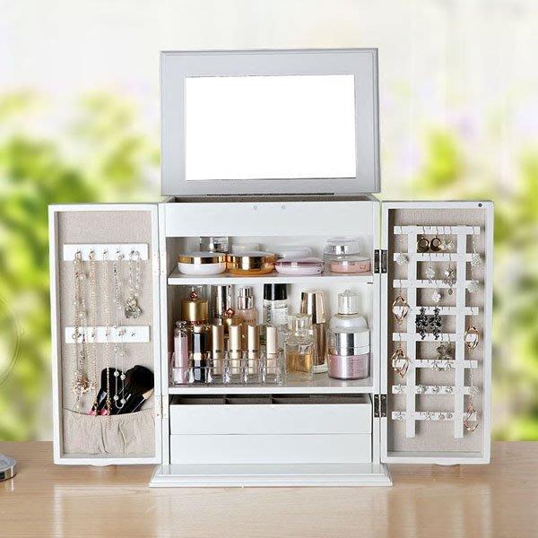 5Cgo【鴿樓】會員有優惠  541626575524 歐式首飾收納櫃化妝品收納盒木質大號帶鏡子桌面梳妝台整理箱防塵