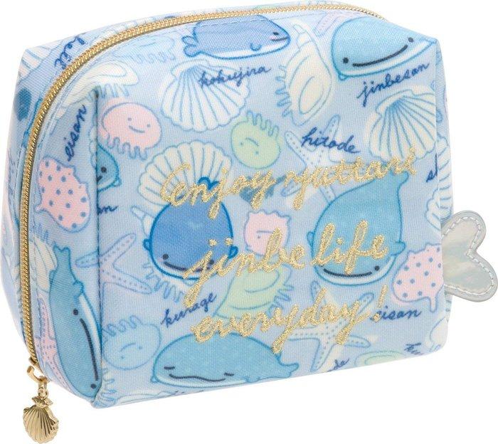 AQI BUY San-X 鯨鯊先生 滿版 海洋生物 金色刺繡 水藍色 方形 化妝包 小包 萬用包