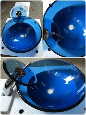 FUO 衛浴:42公分 圓形 藍色透明...