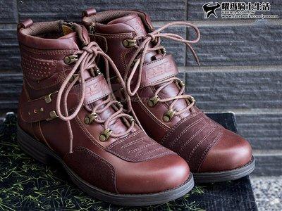 【免運】雷威 RYO 全牛皮 紅棕 休閒 防護短靴 女版 vintage 復古車靴『耀瑪騎士生活機車安全帽部品』