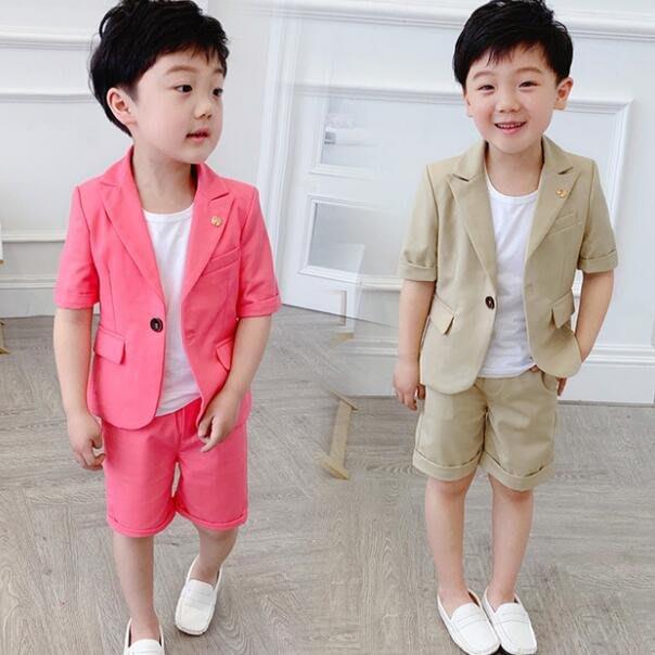 莎芭 韓版兒童西裝套裝 男童套裝 西服兩件套 中小童花童禮服 鋼琴演出表演出服 90-140cm