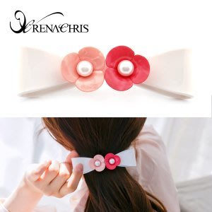 BHI1144-法國品牌RenaChris 漂亮珍珠山茶花蝴蝶結長髮夾 彈簧夾【韓國製】