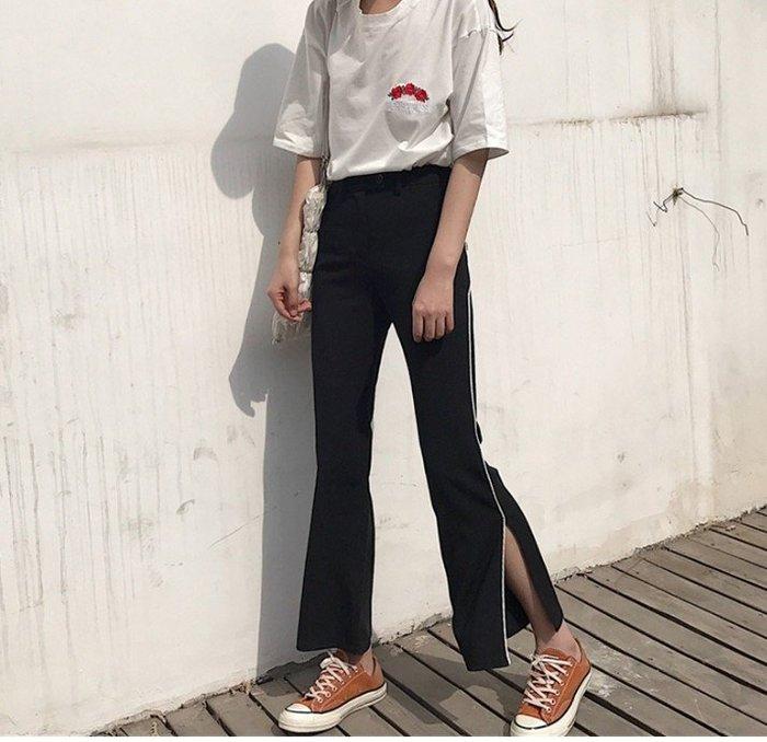 側邊開叉校服闊腿褲女 九分韓版寬鬆白邊喇叭休閒運動褲子