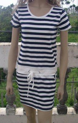 短袖洋裝 藍白條紋 衣服 服飾 服裝 洋裝