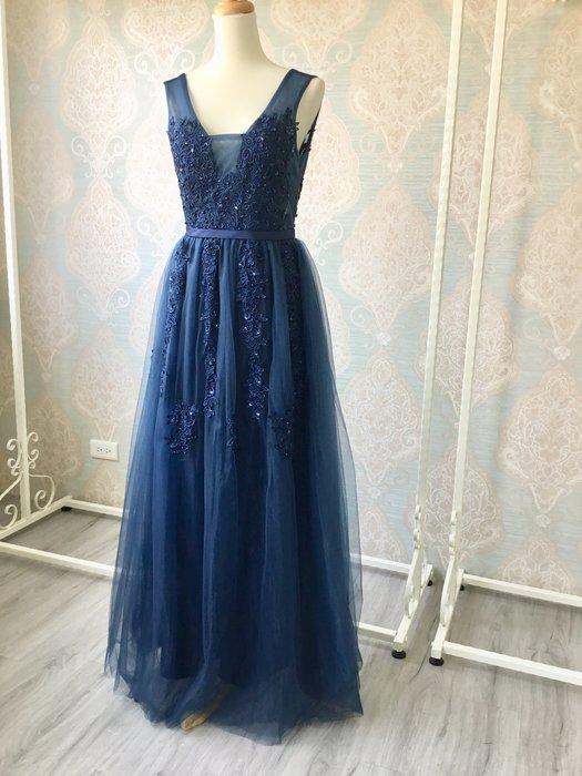 just Queen 實拍 深藍色古典花朵蕾絲紗質長版露背禮服 晚禮服 晚宴 宴會 婚紗 新娘 伴娘 尾牙 派對 媽媽裝