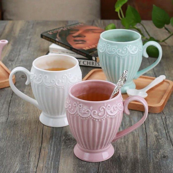 粉紅玫瑰精品屋~公主蕾絲浮雕馬克杯早餐牛奶杯~一個價