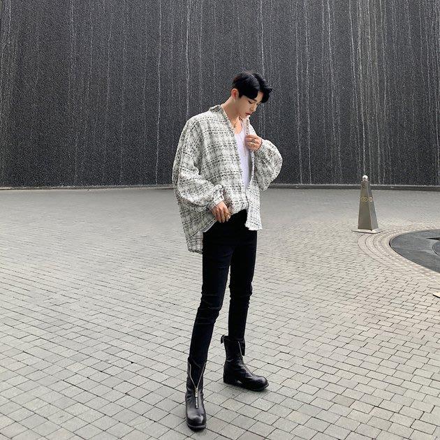 FINDSENSE 2019 秋季上新 G19 復古條紋寬鬆粗紡時尚潮流襯衫外套黑色白色素面襯衫 男裝 上衣