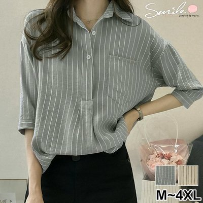 【V2525】SMILE-文青女孩.條紋口袋寬鬆七分袖襯衫上衣