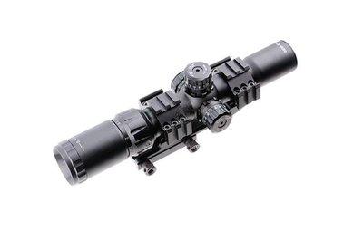 台南 武星級 1.5-4X30 狙擊鏡 三面魚骨(瞄準鏡 倍鏡 快瞄 紅外線 外紅點 內紅點 激光 定標器 紅雷射 瞄具
