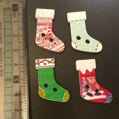 手工DIY材料 木頭 聖誕襪 鈕扣