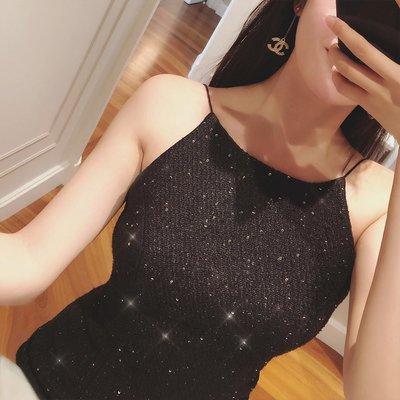 《巴黎拜金女》高貴又漂亮星空亮片粗花呢露背魚尾連衣裙