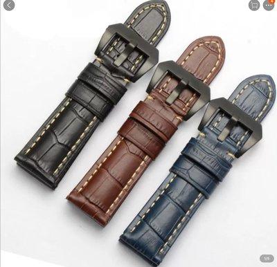 錶帶屋 26mm 磨砂深藍 黑色義大利牛皮錶帶黑色ㄇ字扣寬耳針可替代Garmin Fenix3