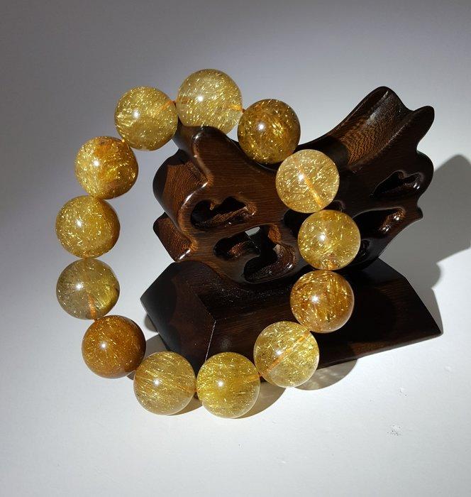 【順昌】《天然A貨 13 顆 共 81.93 公克 黃水晶(髮晶) 手珠(手鍊、手環)》【紐約珠寶鑑定証書】Y364