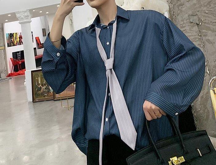 FINDSENSE 品牌 2019 春季 新款 寬鬆  潮流  個性 社會 男青年 長袖 條紋 免燙 襯衫 復古 氣質